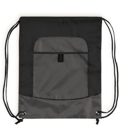 Port Authority Pocket Drawstring Bag - Black / Deep Smoke