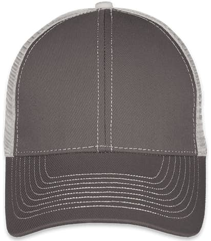 Mega Cap Contrast Stitch Trucker Hat - Dark Grey / Grey