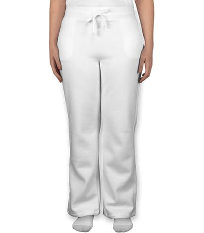 Gildan Women's Open Bottom Sweatpants - White