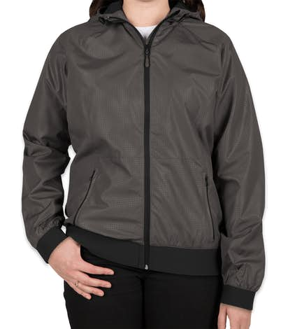 Sport-Tek Women's Embossed Full Zip Hooded Jacket - Graphite / Black