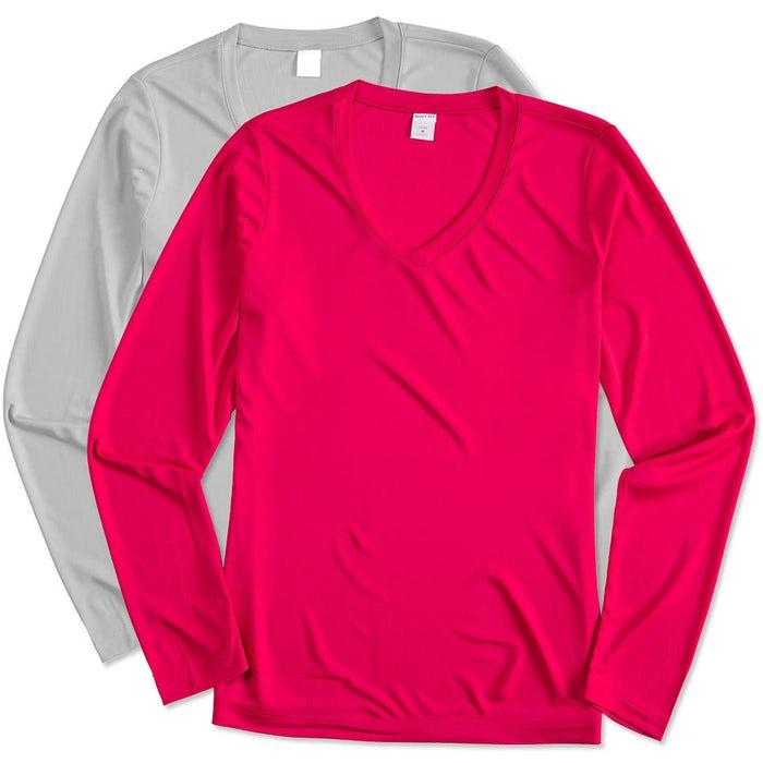 6c7163e0 Custom Sport-Tek Women's Long Sleeve V-Neck Competitor Shirt ...