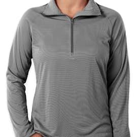Under Armour Women's Tech Stripe Quarter Zip Performance Shirt - Color: Graphite