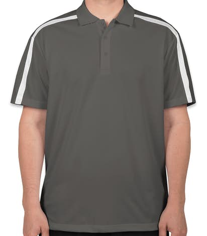 Port Authority Silk Touch Colorblock Performance Polo - Steel Grey / White