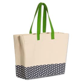 Large Gusseted Patterned Bottom Tote