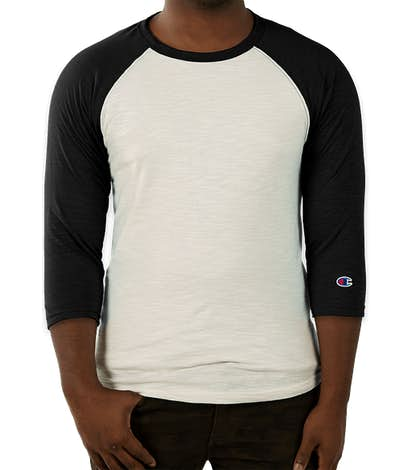 Champion Premium Fashion Baseball Raglan - Chalk White / Black