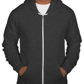American Apparel USA-Made Flex Fleece Zip Hoodie - Color: Dark Heather Grey