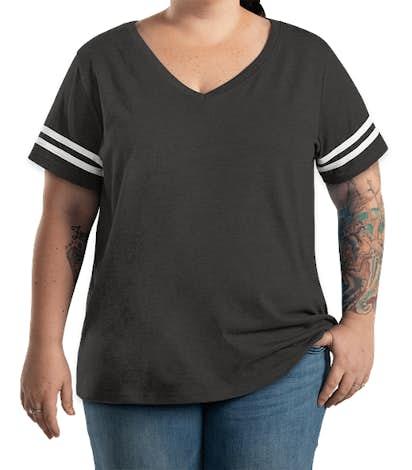 LAT Women's Curvy Varsity V-Neck T-shirt - Vintage Smoke / White