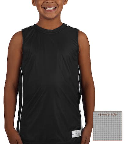 Sport-Tek Youth Micro-Mesh Reversible Sleeveless Jersey - Black / White