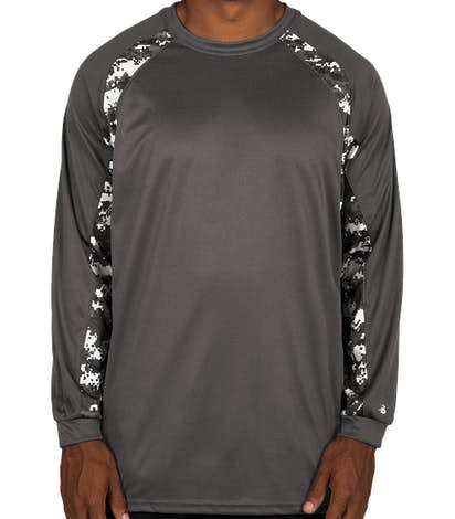 Badger Digital Camo Long Sleeve Performance Shirt - Graphite / White