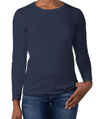 Gildan Women's 100% Cotton Long Sleeve T-shirt - Navy