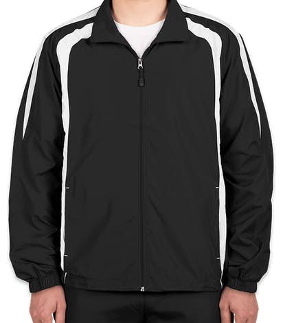 Sport-Tek Full Zip Colorblock Warm-Up Jacket - Black / White