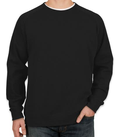 Independent Trading Heather Raglan Crewneck Sweatshirt - Black