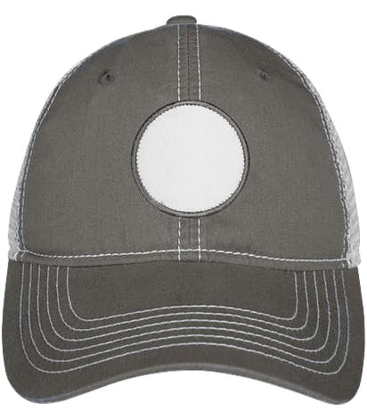 Circle Printed Patch Hat - Trucker - Charcoal / White