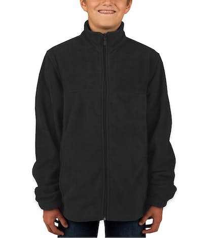 Harriton Youth Full Zip Fleece Jacket - Black