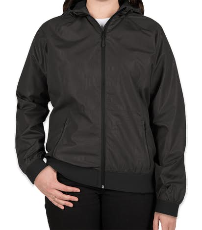 Sport-Tek Women's Embossed Full Zip Hooded Jacket - Black / Black
