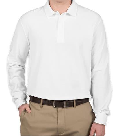 Canada - Gildan DryBlend Double Pique Long Sleeve Polo - White