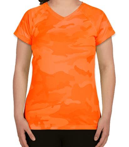 Champion Women's Camo V-Neck Performance Shirt - Safety Orange Camo