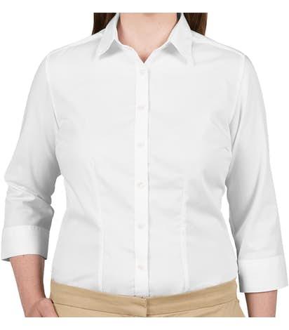 49b942100 Custom Van Heusen Women's 3/4 Sleeve Baby Twill Dress Shirt - Design ...