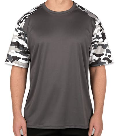 Badger Camo Sleeve Performance Shirt - Graphite / White Camo