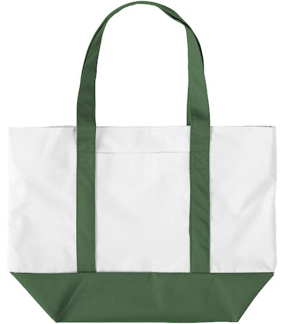 Large Poly Zippered Boat Tote - White / Forest