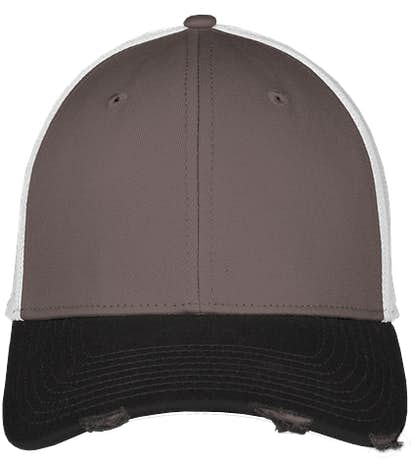 New Era 39THIRTY Distressed Stretch Fit Mesh Hat - Black / Graphite / White