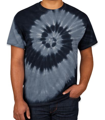 Dyenomite 100% Cotton Two-Tone Spiral Tie-Dye T-shirt - Black