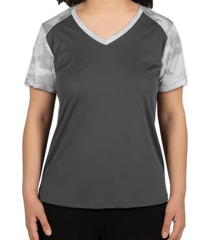 Sport-Tek Women's CamoHex Colorblock Performance Shirt - Iron Grey / White