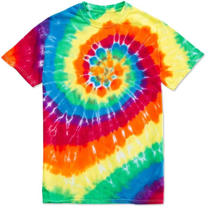 5cc6f008b03 Custom Dyenomite 100% Cotton Rainbow Tie-Dye T-shirt - Design Short ...