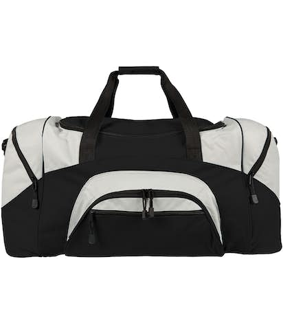 Colorblock Gym Bag - Embroidered - Black / Grey