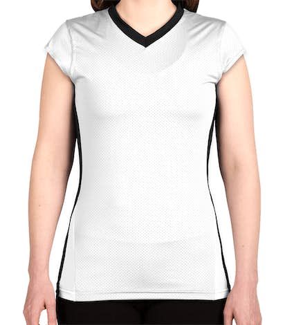Augusta Juniors Colorblock Mesh Volleyball Shirt - White / Black / White