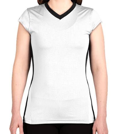 Augusta Juniors Colorblock Mesh Volleyball Shirt - White / Black / White