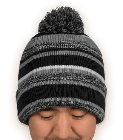 New Era Sideline Fleece Lined Pom Pom Beanie - Black / Graphite