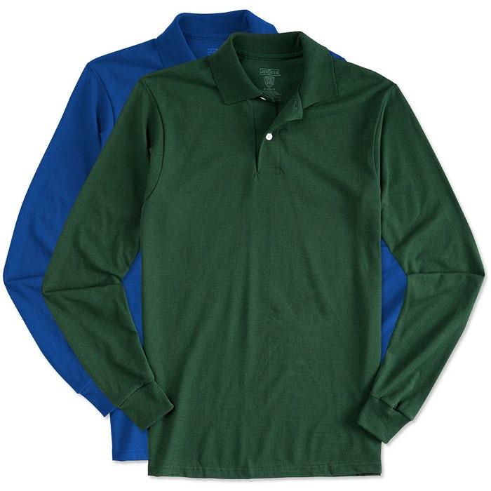 ab52e993 Custom Jerzees Spotshield 50/50 Long Sleeve Jersey Polo - Design ...