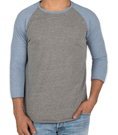 Threadfast Tri-Blend Raglan T-shirt - Grey / Royal Tri-Blend