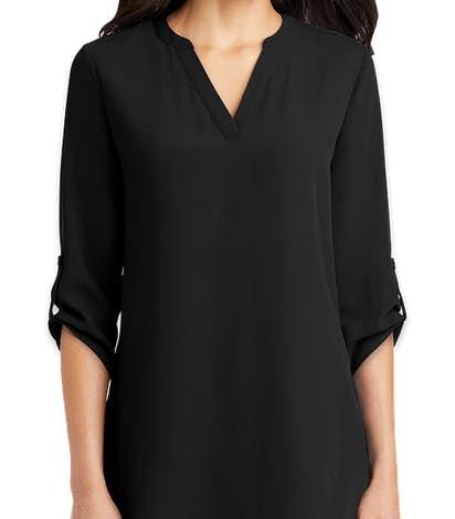 Port Authority Women's 3/4 Sleeve Tunic Blouse - Black