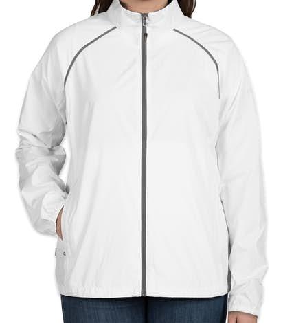 Elevate Women's Egmont Packable Contrast Zipper Windbreaker - White / Steel Grey