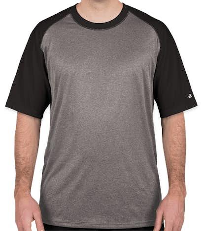 Badger Pro Heather Short Sleeve Baseball Raglan - Steel / Black