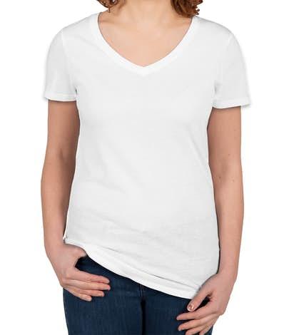 Threadfast Juniors Lightweight V-Neck Pigment Dyed T-shirt - White