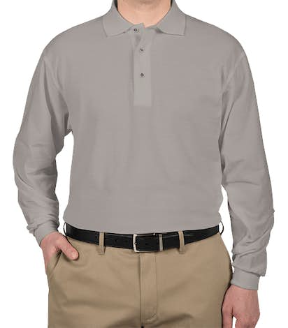 Port Authority Silk Touch Long Sleeve Tall Polo - Cool Grey