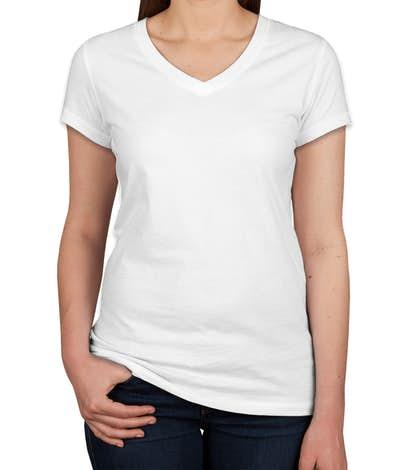 fa88483e1945 Custom Bella + Canvas Juniors Jersey V-Neck T-shirt - Design Women s ...