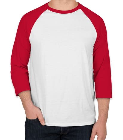 Hanes X-Temp Baseball Raglan - White / Deep Red