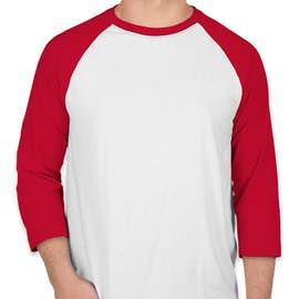 Hanes X-Temp Baseball Raglan - Color: White / Deep Red