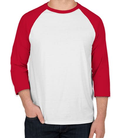 Hanes X-Temp Raglan T-shirt - White / Deep Red