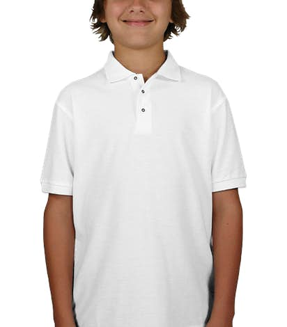 Port Authority Youth Silk Touch Polo - White