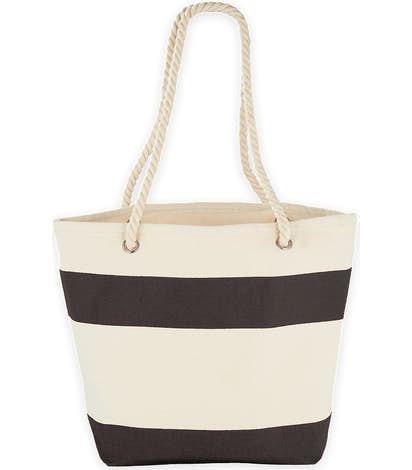 Medium Nautical Stripe 100% Cotton Tote - Black