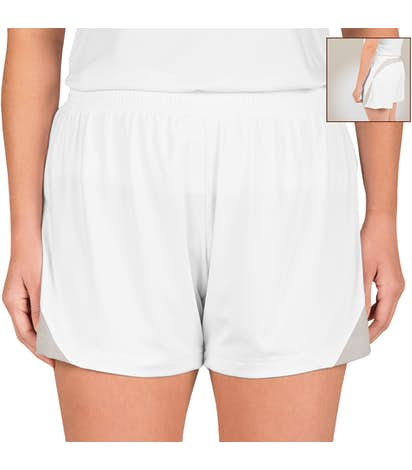 Team 365 Women's Colorblock Performance Shorts - White / Sport Silver