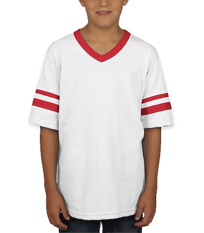 Augusta Youth Double Sleeve Stripe Jersey T-shirt - White / Red