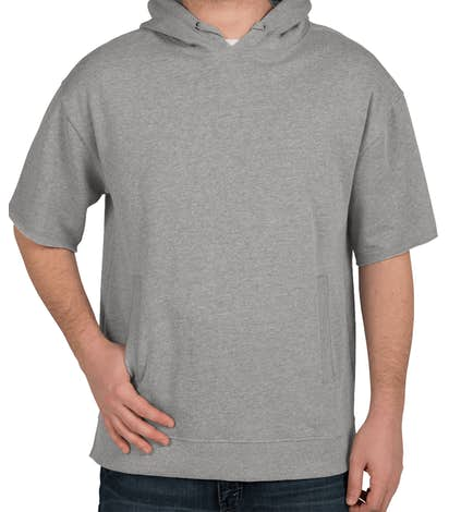 Charles River Short Sleeve Pullover Hoodie - Heather Grey