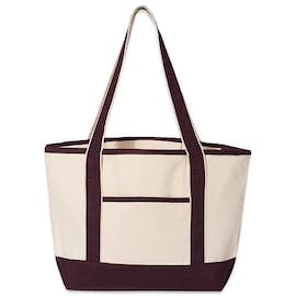 Embroidered Medium Deluxe Canvas Boat Tote Bag