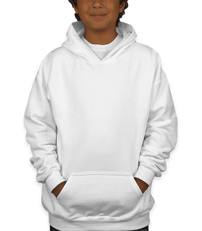 Gildan Youth Midweight 50/50 Pullover Hoodie - White